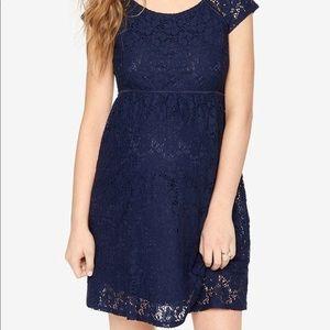 Motherhood Navy blue lace dress/M